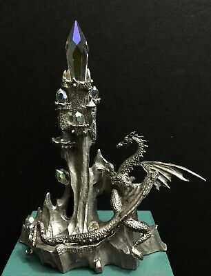 Perth Pewter Metal Crystal Tower Ball Castle Winged Dragon Miniature Figurine