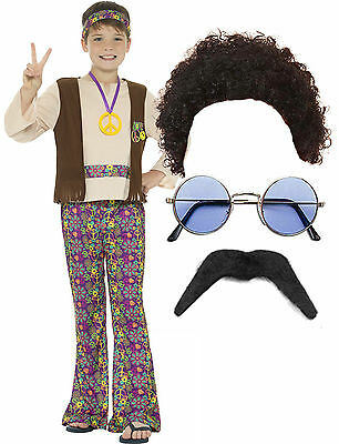 70s Costumes For Boys (Hippy Hippie Smiffys Boys Kid Child 60s 70s Fancy Dress Costume Afro Wig)