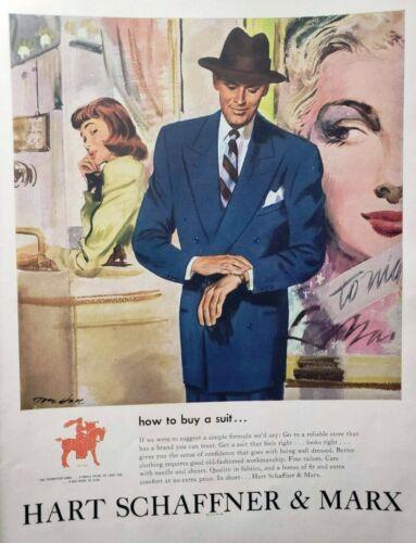 Vintage 1948 Hart Schaffner & Marx Suit Print Ad Ephemera Art Decor