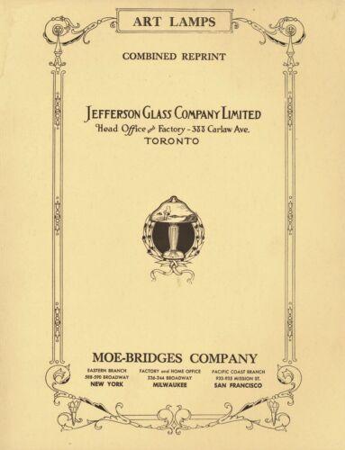 Jefferson Art Glass & Moe-Bridges Lamps incl Model Numbers / Scarce Illust. Book
