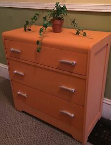 Solid wood dresser with wooden flowered handles