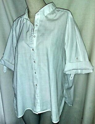 WOMENS MARKS & SPENCER COTTON SHIRT BLOUSE SHORT ROLL TAB SLEEVE CHECK PLUS 22, used for sale  Shipping to Nigeria