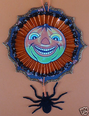 Wild German face & SPIDER vintagey Halloween Tree ornament](Halloween Spider Font)