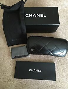 100% Brand New GENUINE Chanel Black Quilted Sunglasses Case & Box