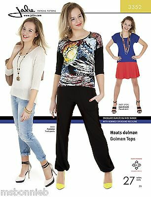 Jalie Dolman Tops Short or 3/4 Sleeve Sewing Pattern 3352 Women & Girls 27 Sizes