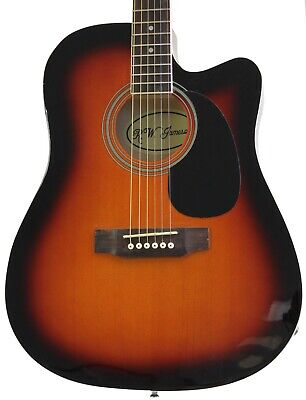 Full Size Thinline Body Acoustic Electric Guitar with Pickup Vintage Sunburst
