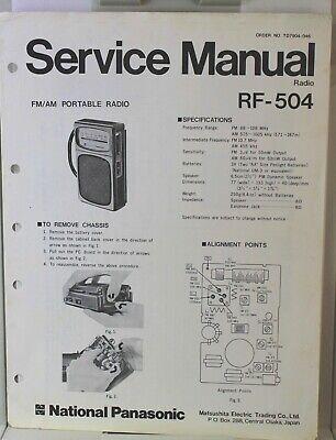 National Panasonic RF-504 AM/FM Portable Radio - Service Information comprar usado  Enviando para Brazil