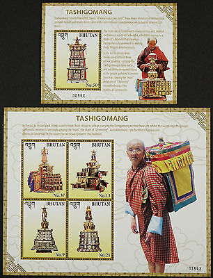 Bhutan 2016 Tashigomang Miniaturtempel Religion Mönch Monk Block 571-572 MNH