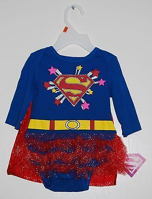 NWT Superhero Infant Girls Super Hero Blue Ruffle Romper with Red Cape 0-3M 3-6M - Red Super Hero Cape