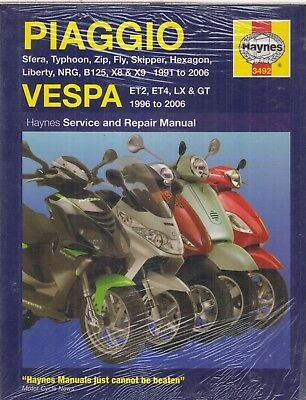 PIAGGIO SFERA TYPHOON ZIP FLY SKIPPER NRG X8 X9 VESPA LX GT 91-'06 REPAIR MANUAL