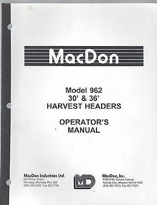 Macdon Model 962 Harvest Headers 30 36 Operators Manual Farm Implement