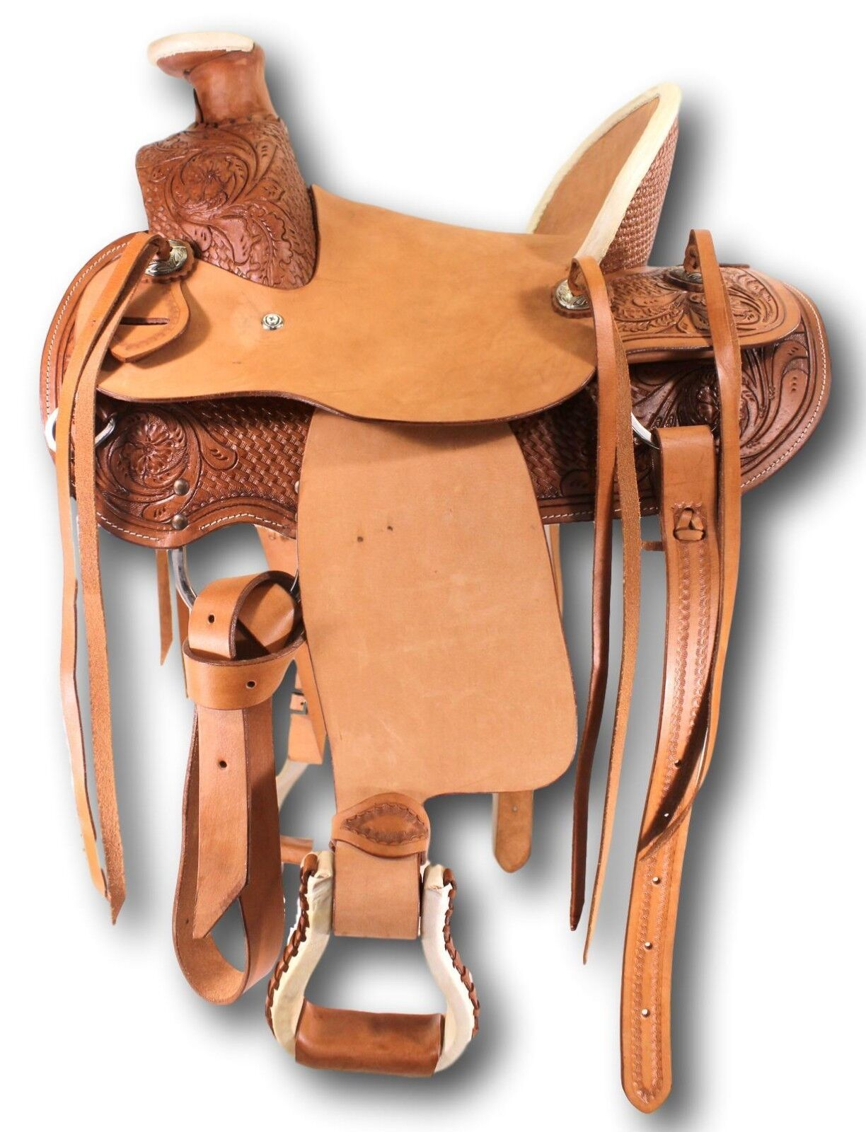 """D.A. Brand Kid's 12"""" Tooled Leather Wade Pony Saddle Horse T"""