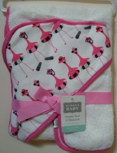 Hudson Baby 2 Pc White Pink Flamingo Hooded Towel and Washcloth NWT