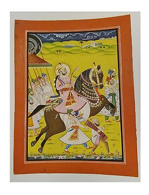 Indian Handcrafted Art Maharaja Procession Scene Stone Color Paper Painting