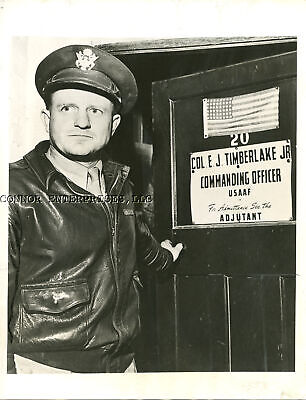 1942 WWII ORIGINAL PRESS RELEASE PHOTO COL TIMERLAKE BOMBER GROUP COMMANDER (Original Press Release Photo)