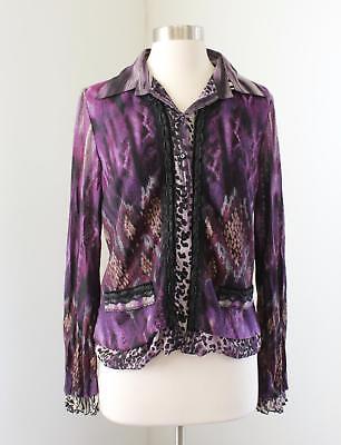 Alberto Makali Purple Abstract Cheetah Chain Button Front Shirt Size M Artsy (Abstract Cheetah)