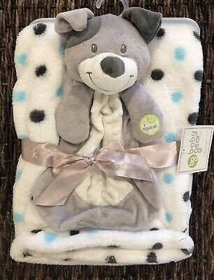 Baby Gear Puppy Dog Security Blanket Polka Dot Lovey Baby Blanket
