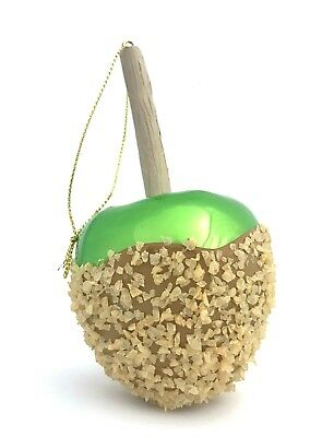 Caramel Apple Glass Christmas Ornament Green Fall Autumn Halloween Candy