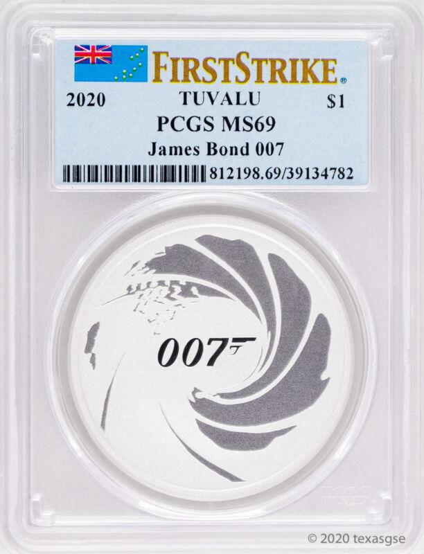 """2020-P Tuvalu """"James Bond 007"""" 1oz .9999 Silver Coin PCGS MS69 - First Strike"""