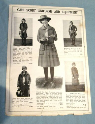 EXTREMELY RARE 1926 Girl Scout Catalog Page Fragile Condition COLLECTORS GIFT