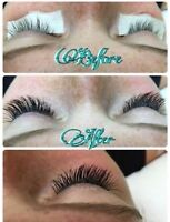 Eyelash extensions classic $55 and hybrid $85
