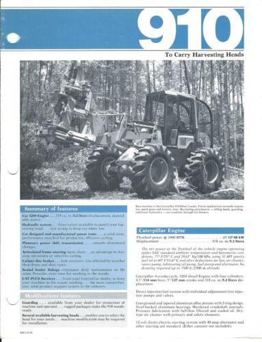 Equipment Brochure Caterpillar 910 Logging Harvester Head Loader c1982 (E3944)