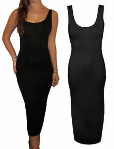 New-Long-Jersey-Simple-Slim-Midi-Maxi-Sexy-Summer-Beach-Vest-Dress-Black-8-18