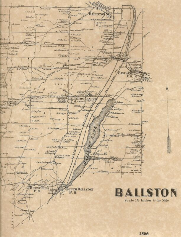 Ballston Charlton Burnt Hills NY 1866 Maps with Homeowners Names Shown