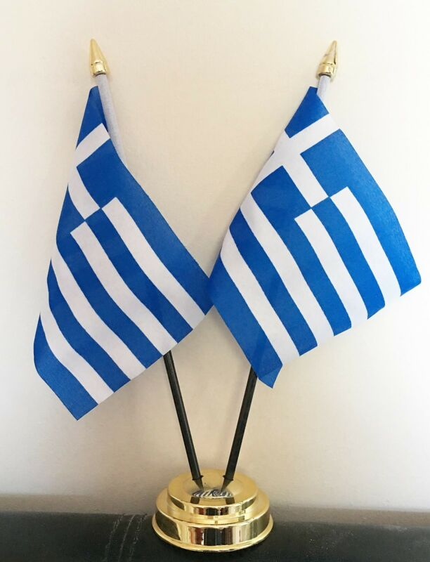 GREECE X2 TABLE FLAG SET 2 flags plus GOLDEN BASE GREEK