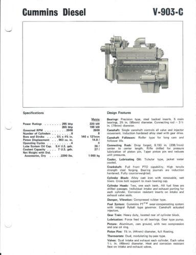 Equipment Brochure - Cummins - V-903-C - Diesel Engine - c1976 (E4157)