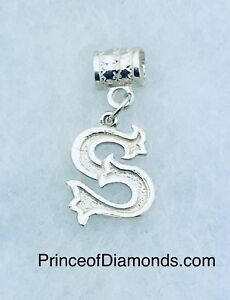 Sterling silver Initial letter S pendant charm