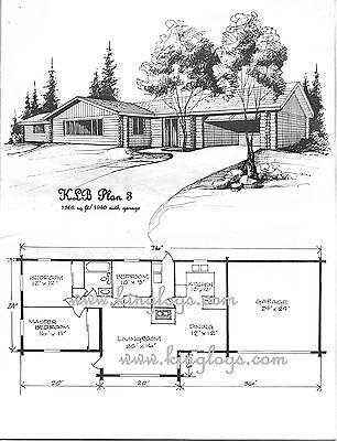 LOG CABIN HOME shell kit logs 1368 sq.ft , 1940 with garage