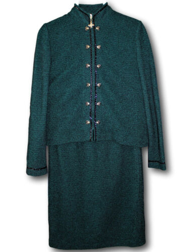 ST JOHN Skirt Suit 4 Novelty Knit Green Black Zip Jkt Gold Jewelry Accents 2 PC
