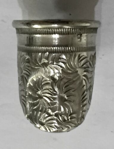 Rare Antique Silver Thimble Finger Shaped Marked Patent 1850