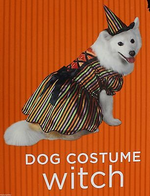 Halloween Striped Witch Pet Dog Costume Size Medium 15-30 lbs & 14-18 in NWT
