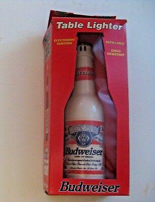 RARE NOS VINTAGE BUDWEISER BEER BOTTLE ADVERTISING REFILLABLE TABLE LIGHTER