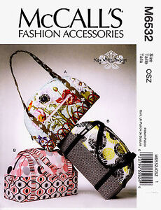 McCall's Pattern M6532 Women's Bags Handbags Tote Purse 6532 sewing