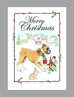 Boxer Dog Christmas Cards, Box of 16 Cards & 16 Envelopes
