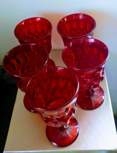 """Set of 5 Noritake Red/Amberina  Perspective 4 3/4"""" Wine Goblets - Great Colors!!"""