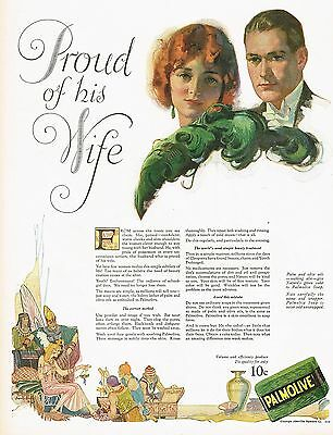 1920s BIG Old Vintage Palmolive Soap Flapper Lady Man Wife Fashion Art Print Ad