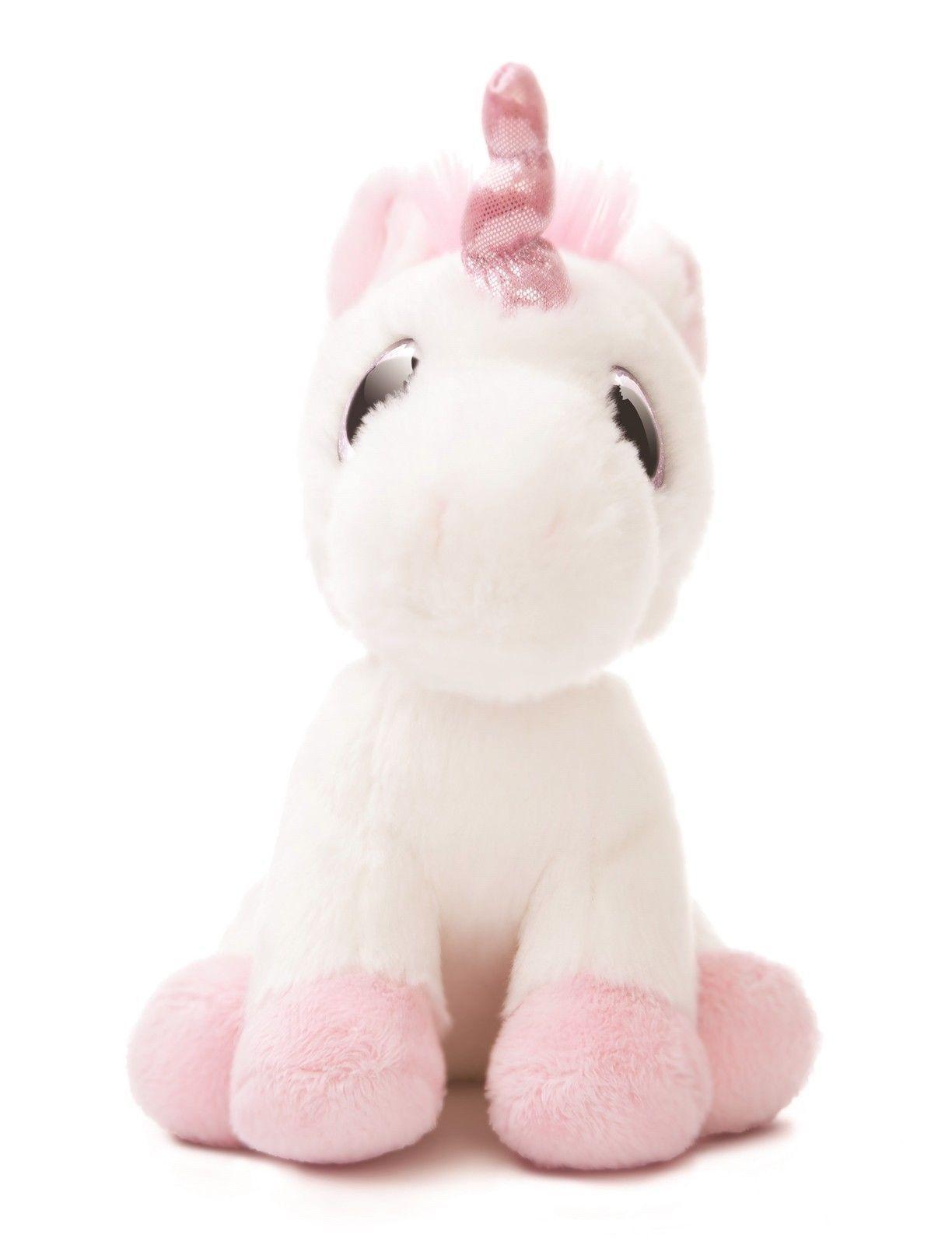 Plüschtier Stofftier Einhorn Pferd Unicorn Kuscheltier 50cm Liegend Pink Weiß