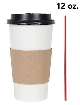 50 Set 12 Oz. Disposable Hot Tea Paper Coffee Cups With Lids Sleeves Stirrers
