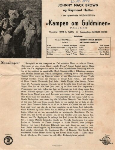 Partners of the Trail Johnny Mack Brown Hatton 1944 Danish Movie Press Release