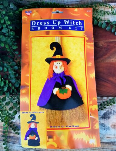 Nicole Crafts Halloween Dress Up Witch Broom Cover Kit Tabletop Mantel Piece NOS