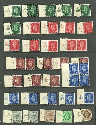 KGVI 1937 definitives x 32 to 1/-with control / Cylinder numbers. Mint