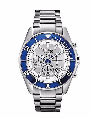 Bulova Marine Star Men's 98B204 Quartz Rotating Blue Bezel 43mm Bracelet Watch