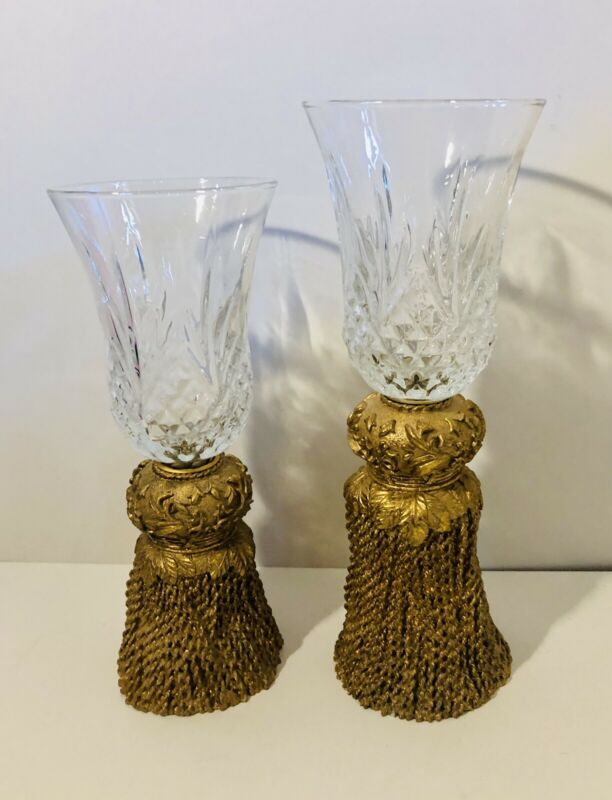 Home Interiors Votive Glass Holder Set Of 2. Clear Glass Candle Holder Gold