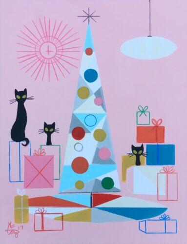 EL GATO GOMEZ RETRO VINTAGE CHRISTMAS TREE HOLIDAY MID CENTURY MODERN CAT KITTY
