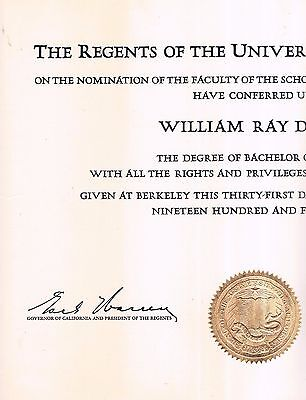 1948 Bachelor Of Science Degree  School Of Business Administration  Uc Berkeley