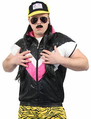 80er Jahre Herren Weste für Jungen Kostüm - schwarz pink - Größe S bis XXXL